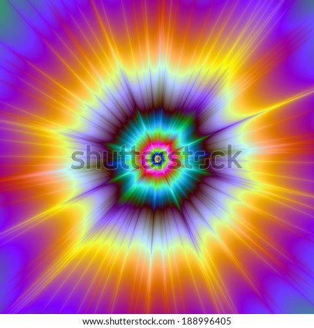 Violet Orange and Turquoise Explosion / A digital abstract fractal image with a color explosion design in violet, orange and turquoise. - stock photo