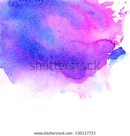 Violet, pink, purple, magenta and blue watercolor texture hand paint on white background. Abstract art for creative design.