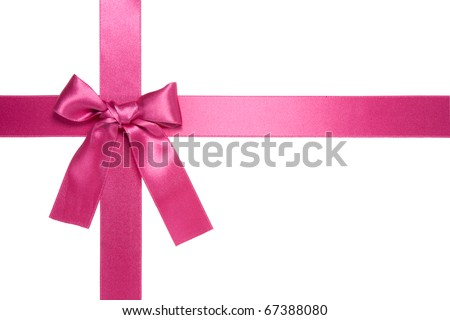 violet-red cross ribbon with bow isolated on white