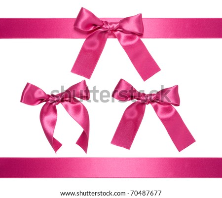 violet-red multiple ribbon with bow isolated on white