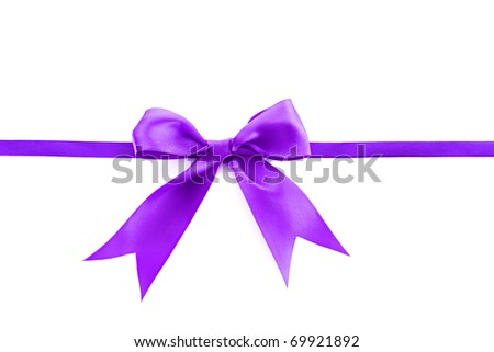 Violet  ribbon and bow isolated on white background