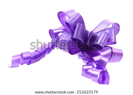 violet roibbon isolated on the white background - stock photo
