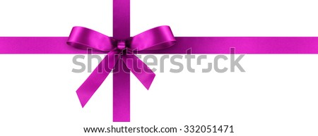 Violet Satin Gift Ribbon with Decorative Bow - Horizontal Panorama Banner - Christmas, Easter, Birthday and Valentine Decor - Isolated on White Background - For Gift Coupon, Gift Certificate and Bonus - stock photo
