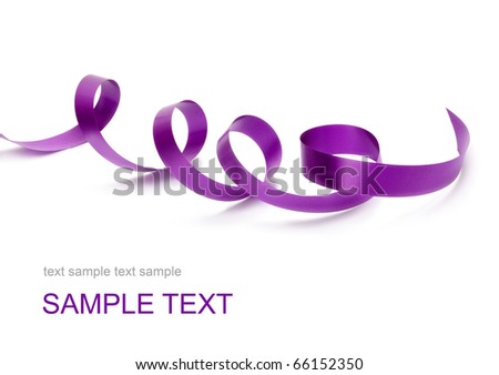 violet satin ribbon - stock photo