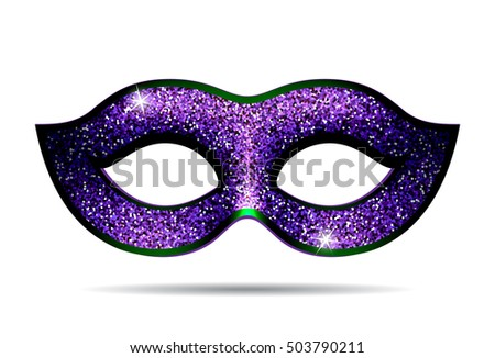 Violet shining carnival mask for masquerade costume. Isolated on white background