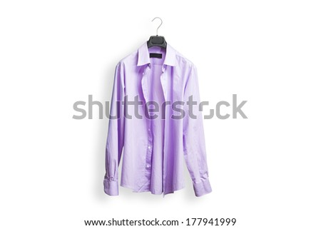 Violet shirt with hanger on white background