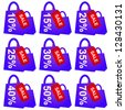 Violet Shopping Bag With Red Sale Tag and 10 - 70 Percent Discount Isolated on White Background - stock photo
