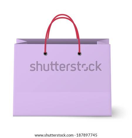 Violet shopping paper bag isolated on white background. Raster version illustration.