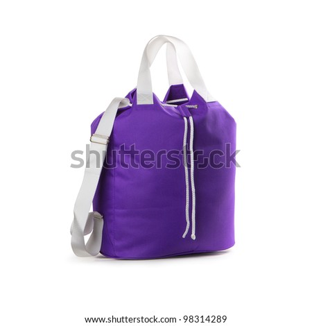 Violet sport bag on a white background. Isolated path included. - stock photo