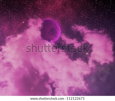Violet Stars on Sky Abstract Space Background - stock photo