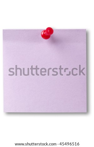 Violet sticker note with red pushpin isolated over white background (clipping path isolation) - stock photo