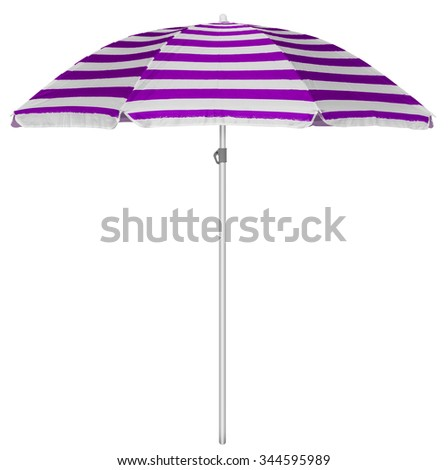 Violet striped beach umbrella isolated on white. Clipping path included. - stock photo