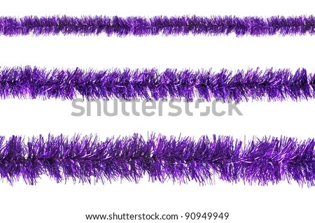 Violet tinsel sample isolated on a white background - stock photo