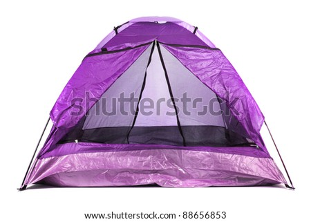 violet tourist tent isolated on white - stock photo