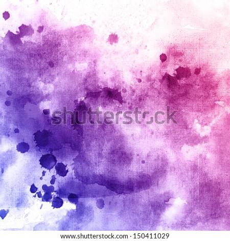 violet watercolor drops texture - stock photo
