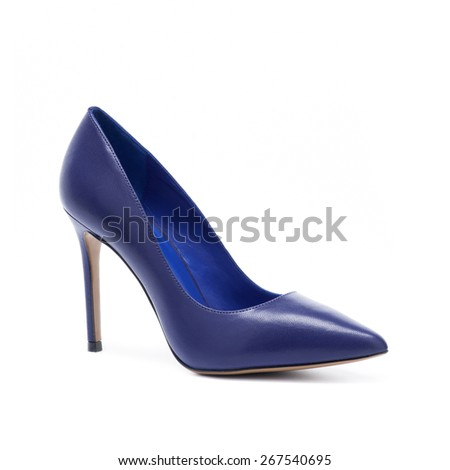 Violet woman shoes on white backgound