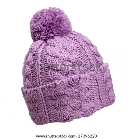violet woolen knit hat - stock photo