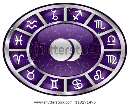 Violet zodiacal oval with zodiac sign.