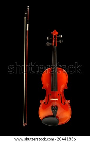 Violin and bow, isolated on black - stock photo