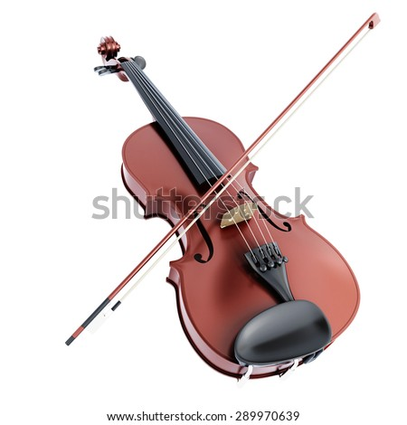 Violin and bow isolated on white background. Collection music instrument. 3d illustration. - stock photo