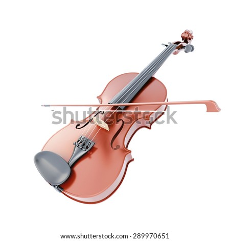 Violin and bow isolated on white background. Music instrument. 3d render image. - stock photo