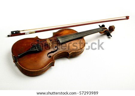 violin and bow on a white background - stock photo