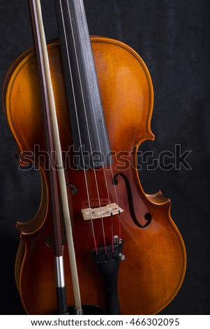Violin and Bow on black Background standing