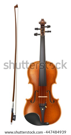 violin and bow. realistic raster illustration - stock photo