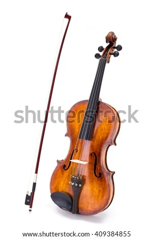 Violin and bow standing on white background - stock photo