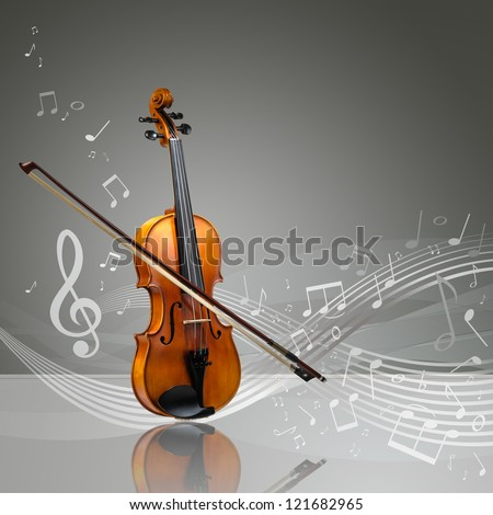 Violin and fiddle stick with musical notes in an empty room, copy space ready - stock photo