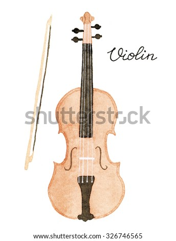 Violin and fiddlestick. Hand-drawn music instrument. Real watercolor drawing. - stock photo
