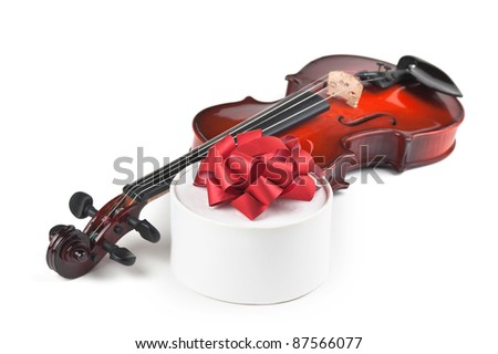 violin and gift box isolated on white background - stock photo