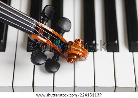 violin and piano - stock photo
