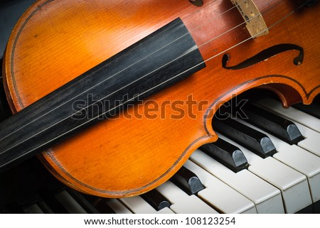 Violin and piano keyboard closeup part fot music background