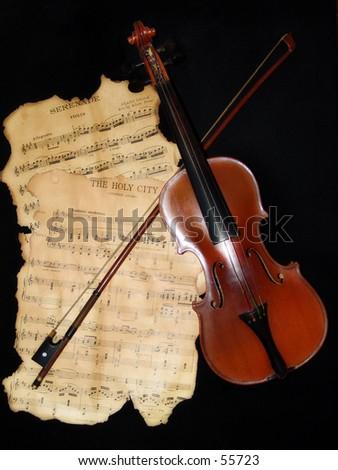 Violin and Sheet Music - stock photo