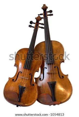 Violin and viola isolated on white - stock photo