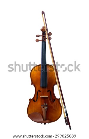 Violin and violin bridge on isolated White background,with Clipping Path - stock photo