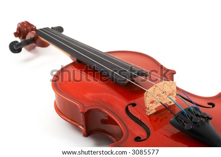Violin angled closeup view on white background, top, angled view, landscape, horizontal orientation - stock photo