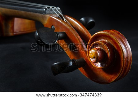 Violin close-up. One of a series of close-up shots of a violin taken in 2015