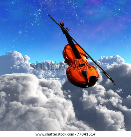 Violin Clouds - stock photo