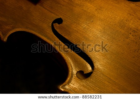 Violin detail f hole - stock photo