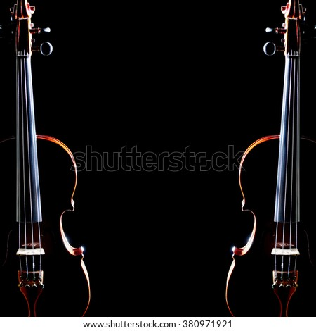 Violin duet strings classical music instruments isolated on black. - stock photo