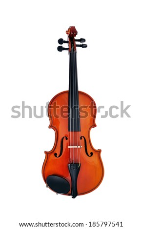 Violin front view isolated on white - stock photo