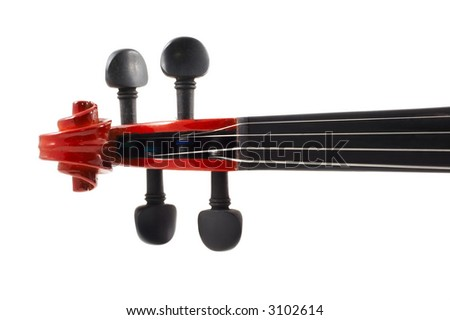 Violin head, white background, front view, horizontal, landscape orientation, no shadow, isolated, good for illustration - stock photo