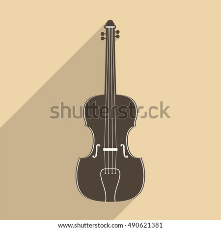 Violin icon with long shadow, flat design