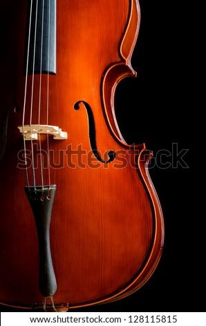 Violin in dark room  - music concept - stock photo