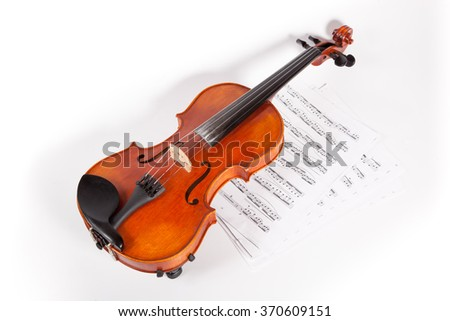 Violin in front of white background, isolated. - stock photo