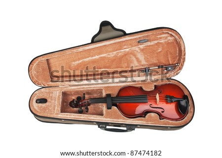 violin in its case isolated on white background