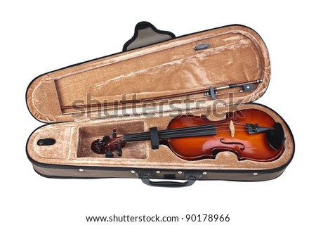 violin in its case isolated on white background - stock photo