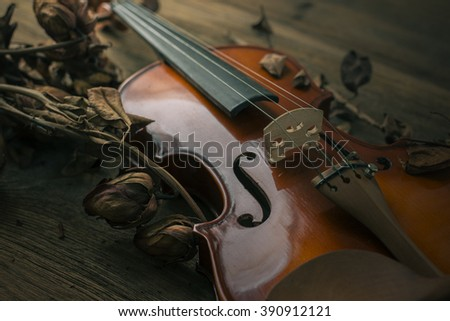 Violin in vintage style on wood background ,The concept of romance, love and music. Selective focus.